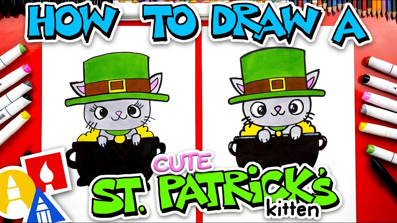 How To Draw A Cute St. Patricks Day Kitten