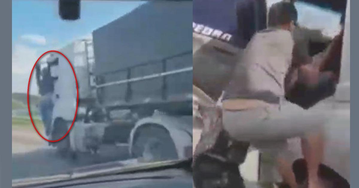 骑车兜风妻遭撞死 夫忍痛攀货车与司机对峙