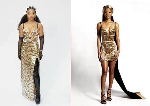 Chloe x Halle Shine in Gold Louis Vuitton Gowns at the 2021 Grammys