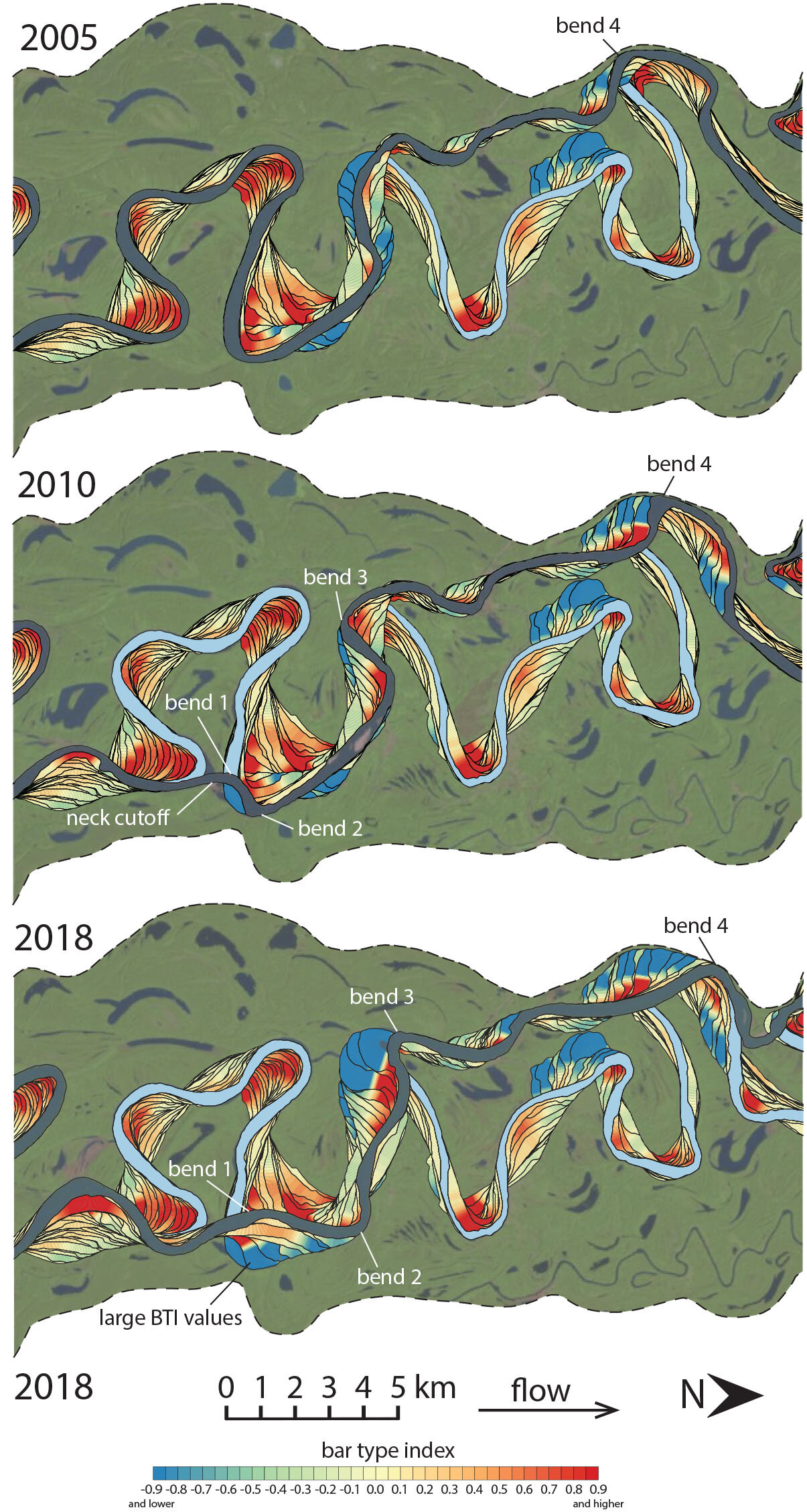 Meandering rivers create 'counter-point bars' no matter underlying geology