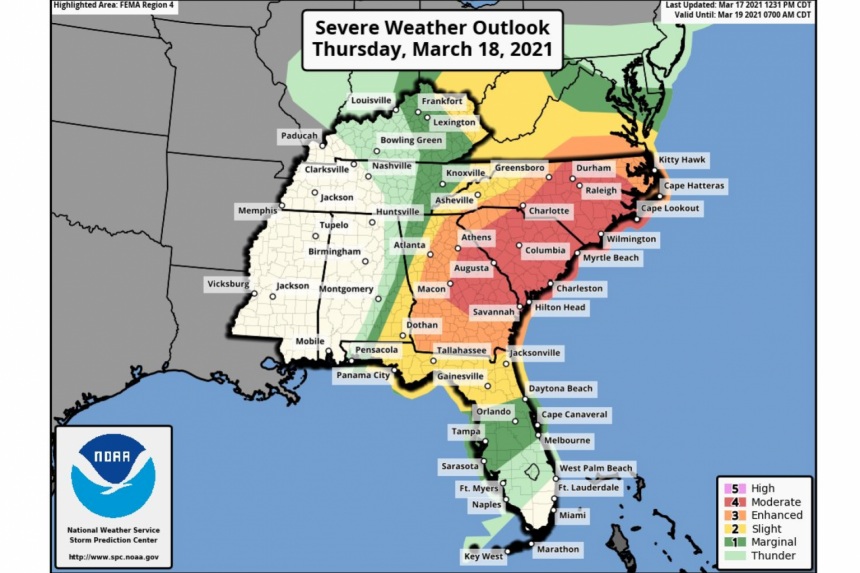 Severe storms threaten parts of US Southeast with tornadoes possible
