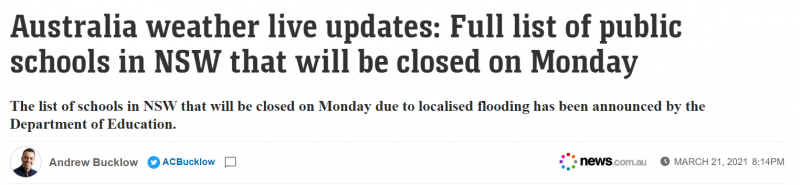 恶劣天气持续肆虐,新州上百所学校周一关闭!完整名单公布(组图)