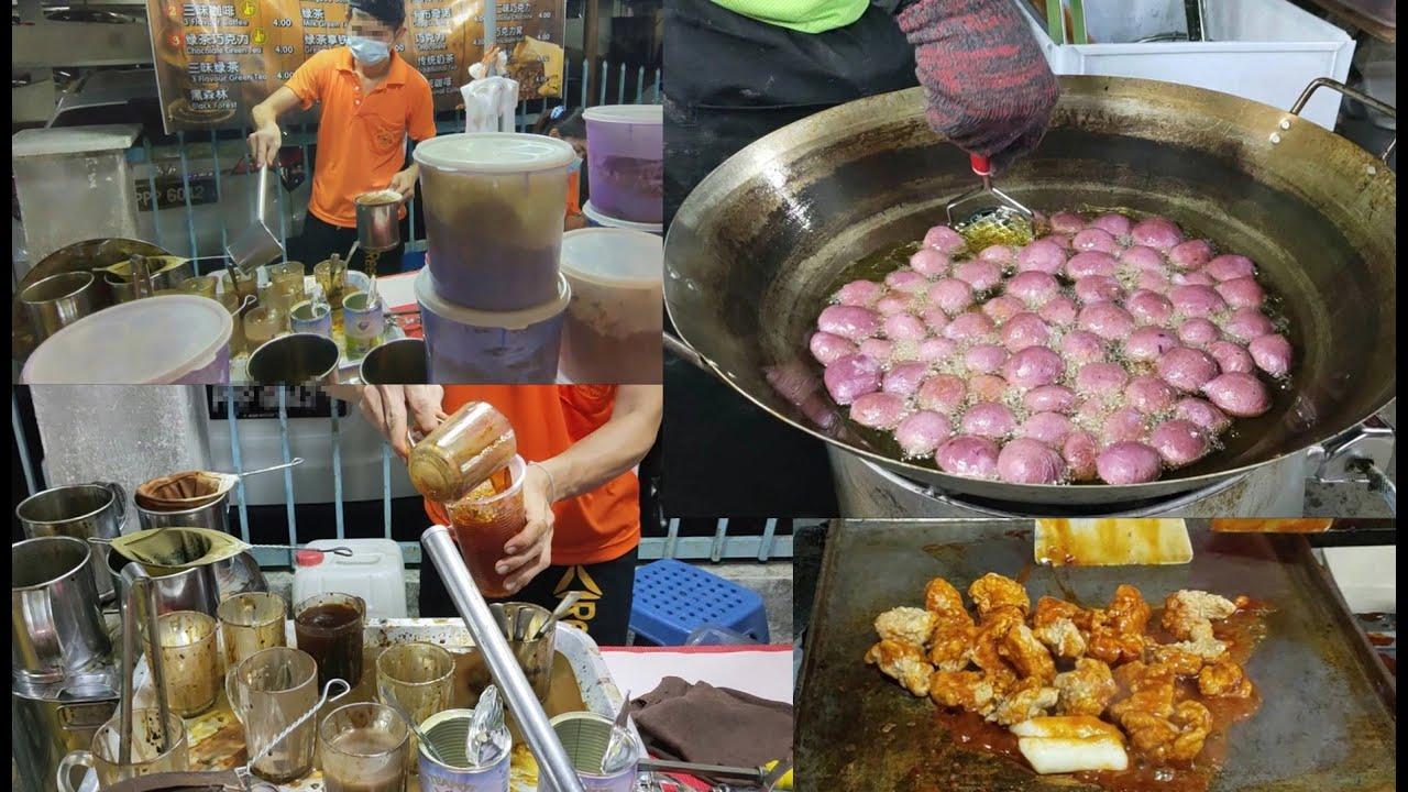 吃喝逛夜市炸榴莲三味咖啡韩式炸鸡紫薯地瓜球槟城美食街 Night market street food buy dinner Penang food