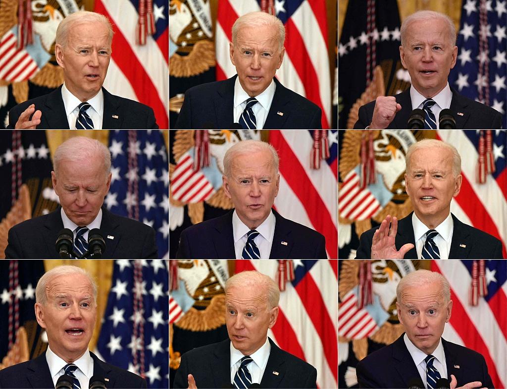 """拜登在首场总统新闻发布会上看""""小抄"""" 都写了啥?"""