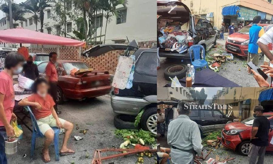 Senior citizen crashes car into Ipoh market after trying to avoid biker