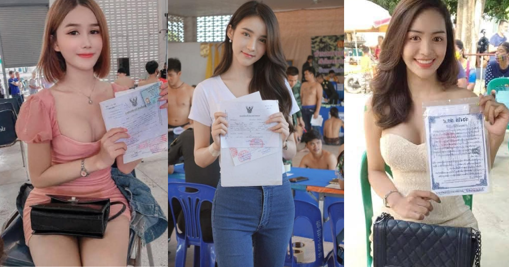 Thai transgender women pose with exemption certs after getting drafted for army