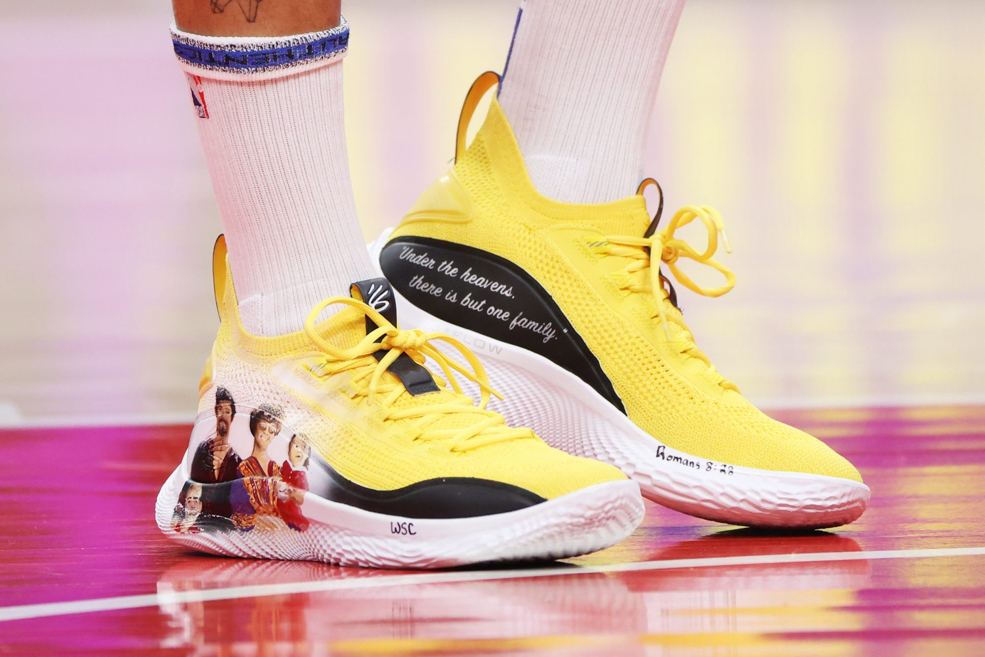 Stephen Curry Wears Custom Hand-Painted Sneakers to Support Asian American Community