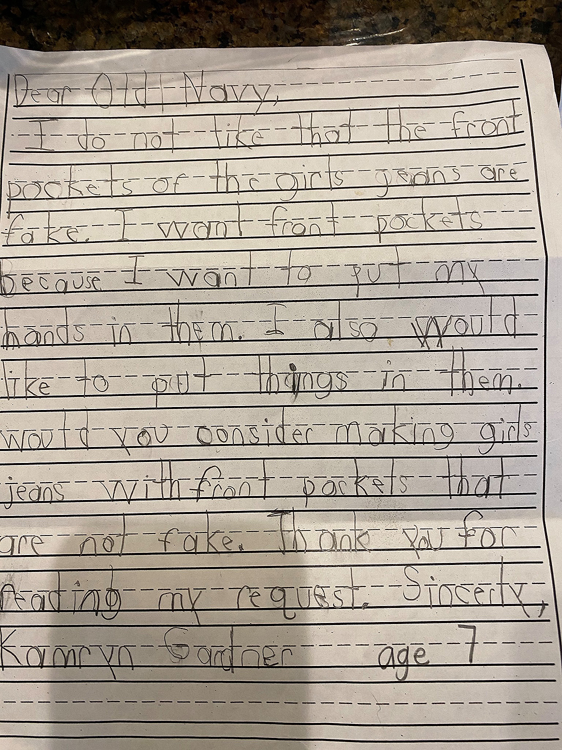 Old Navy Tells First-Grader They Plan to Develop Pockets in Girls' Jeans After She Writes Them a Letter