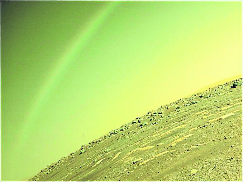 美毅力号发回火星彩虹照
