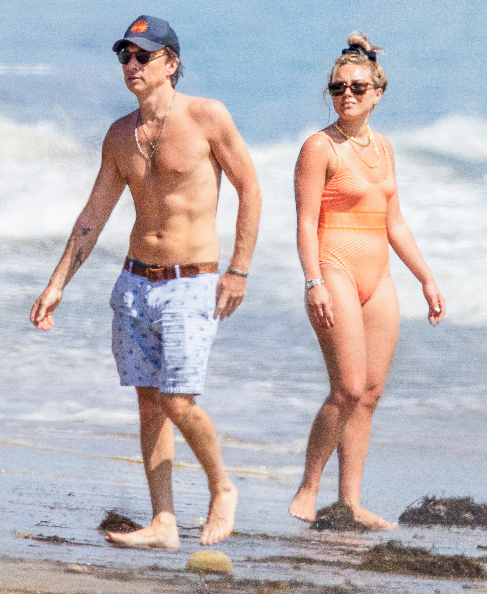 Florence Pugh and Zach Braff Soak Up the Sun on the Beach for His 46th Birthday