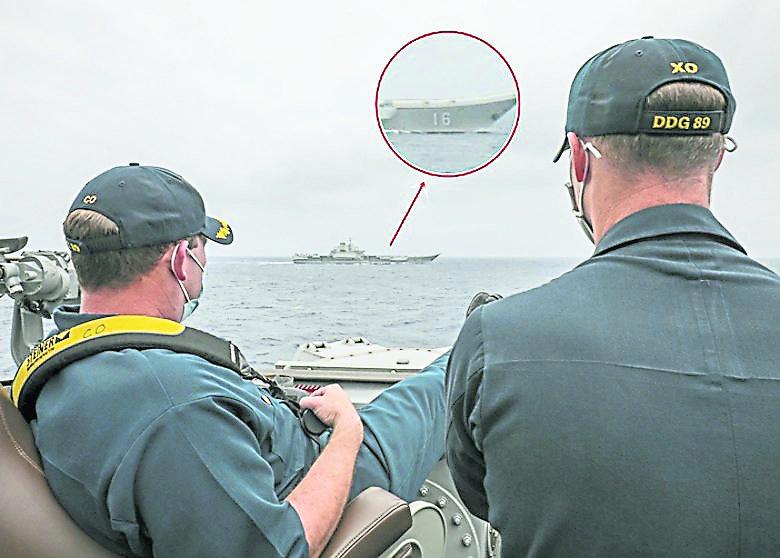近距离并排航行 中美军舰菲律宾海相遇