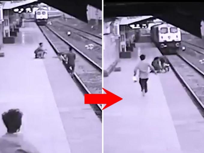 勇救落轨童 印度车站职员迎驶入月台列车狂奔