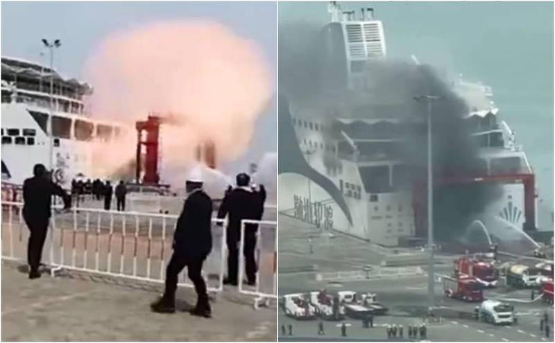 中国豪华客货轮突然爆炸 浓烟狂窜画面超吓人(视频)