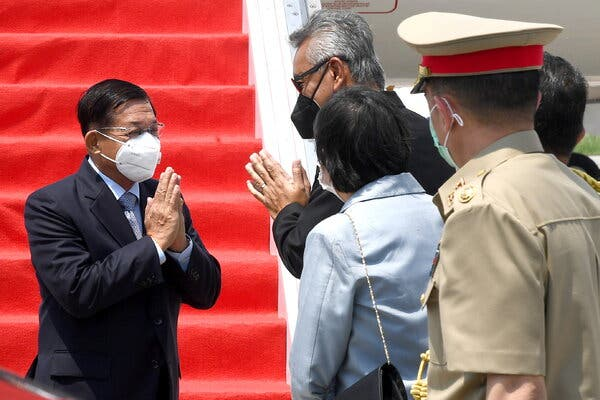 General Who Led Myanmar's Coup Arrives for Regional Talks on the Crisis