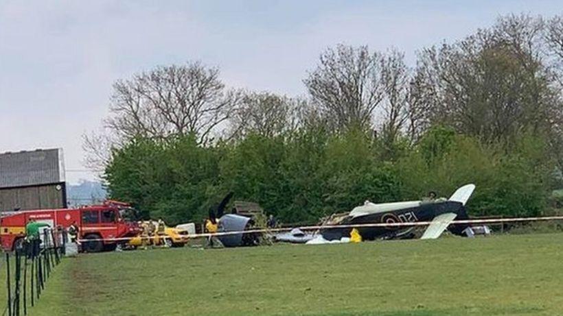 Yeovil plane crash: Two pilots taken to hospital after engine fails