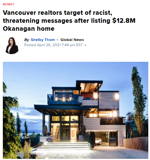 """1280万豪宅出售,华人地产经纪遭威胁,""""带着你的脏钱带回中国去""""(组图)"""