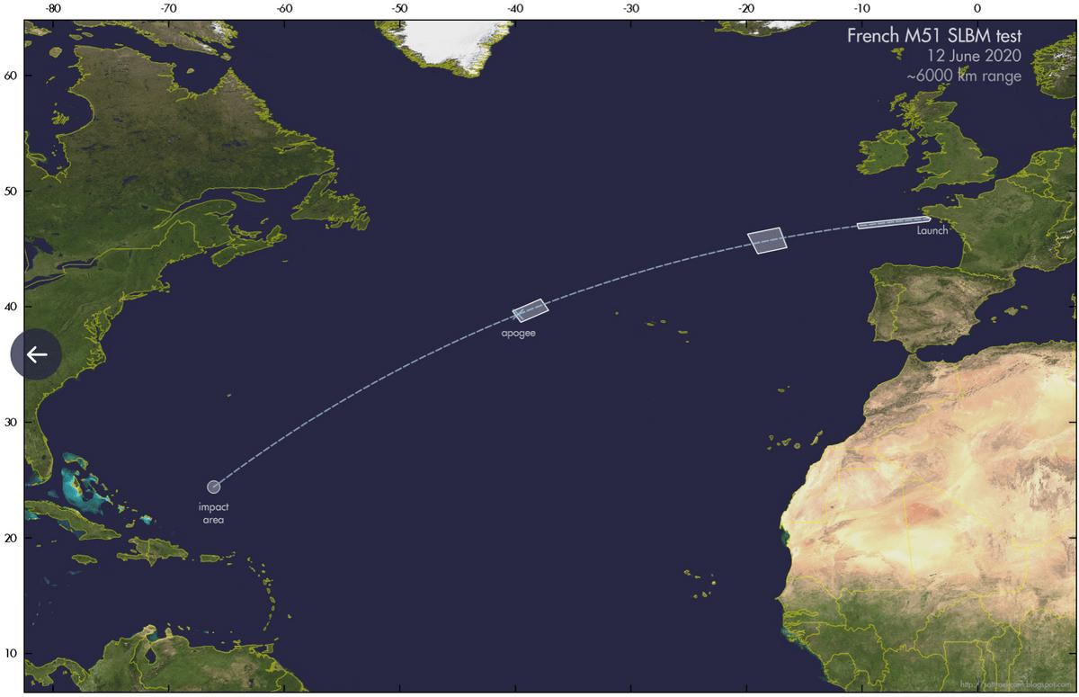 对着北美就是一发!法国试射洲际导弹,落点距美国海岸仅几百公里