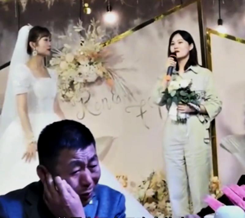 严父不舍女儿出嫁 背对吃饭掩饰眼泪