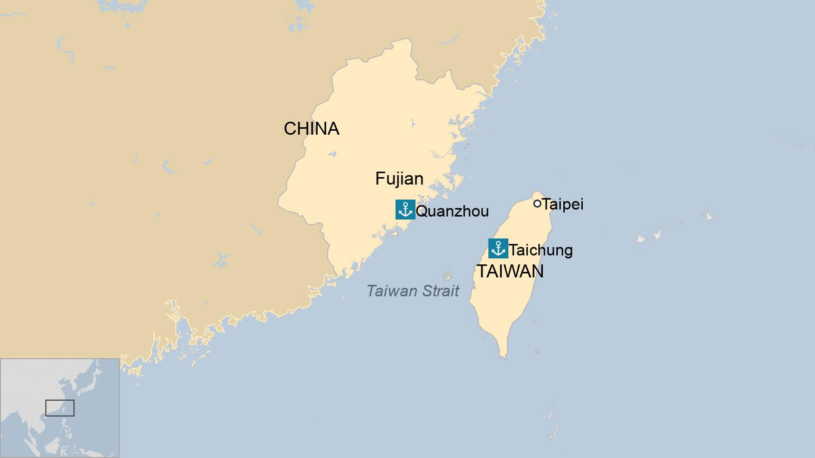 Taiwan Strait: Claim man who crossed sea in dinghy investigated