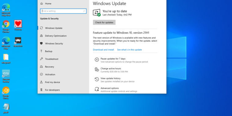 Windows 10 21H1 available now, improves document load times