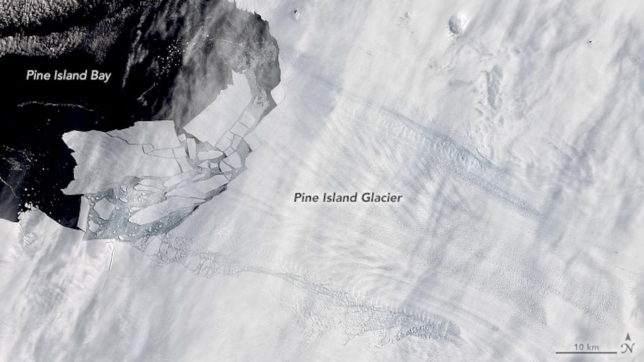 Ice shelf holding back Antarctica's Pine Island Glacier is breaking up
