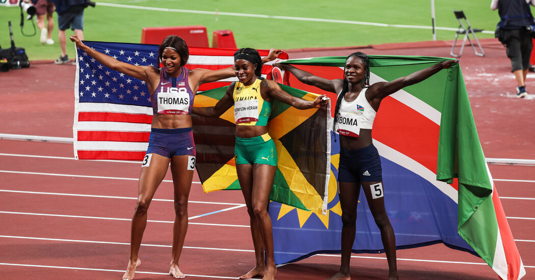 Repeat victories in the 100 and 200 meters give Elaine Thompson-Herah a rare 'double-double.'