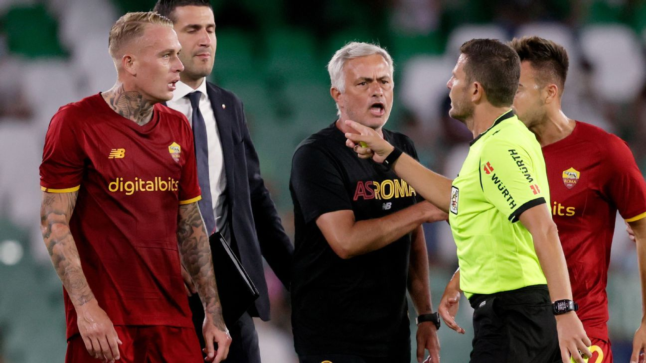 Roma boss Jose Mourinho among four sent off in friendly defeat to Real Betis