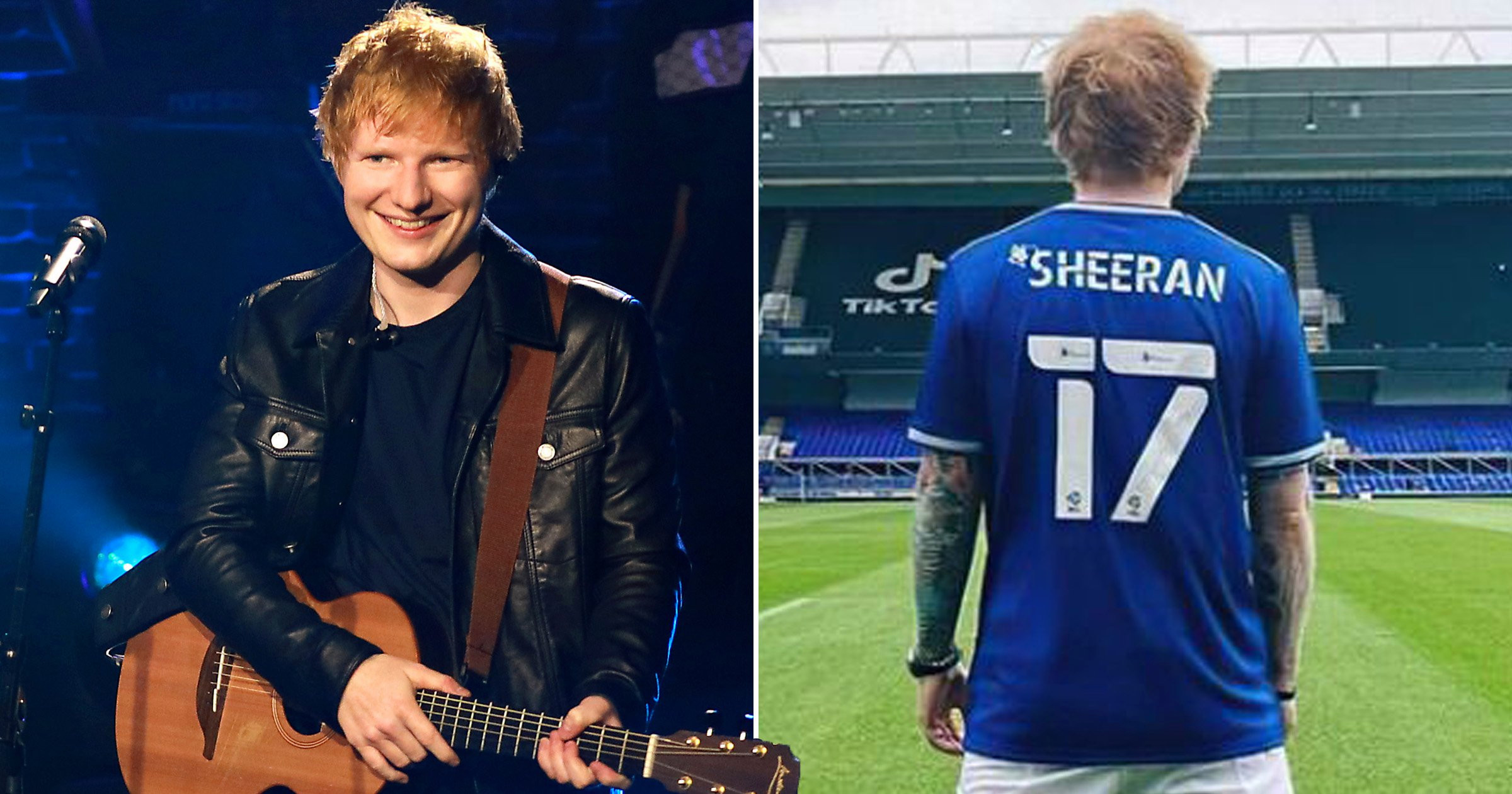 Ed Sheeran added to Ipswich Town football club's official squad list and he's over the moon about it