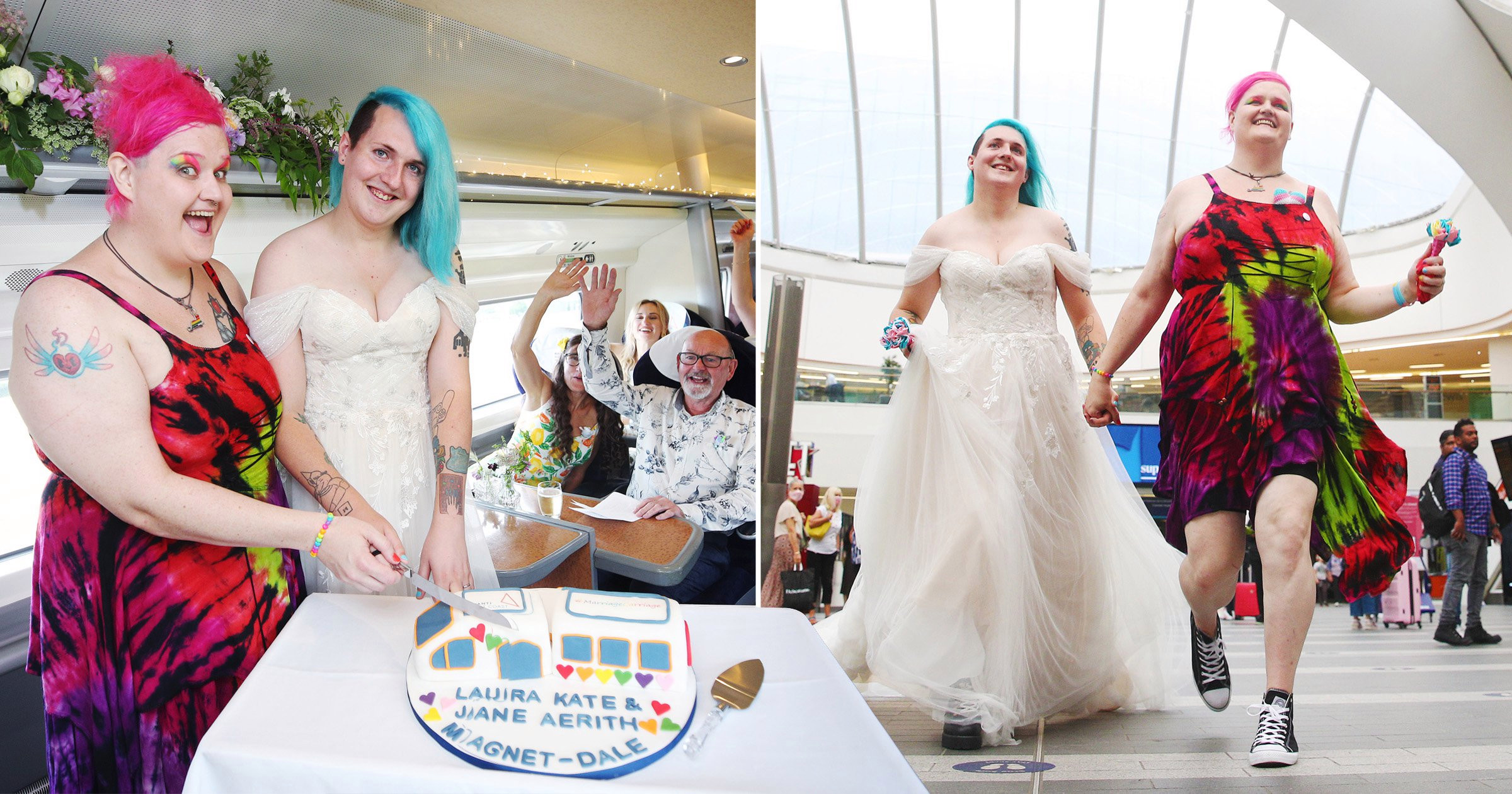 Couple who love railways get married aboard moving train