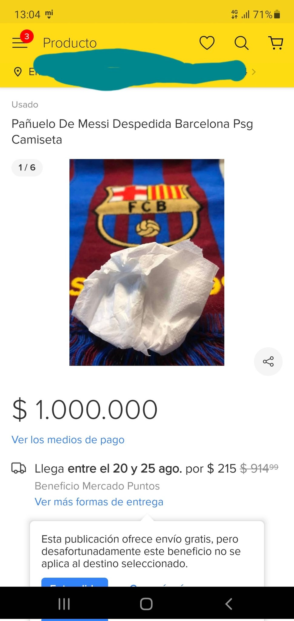 Lionel Messi's used tissue from press conference selling for $1.3M online