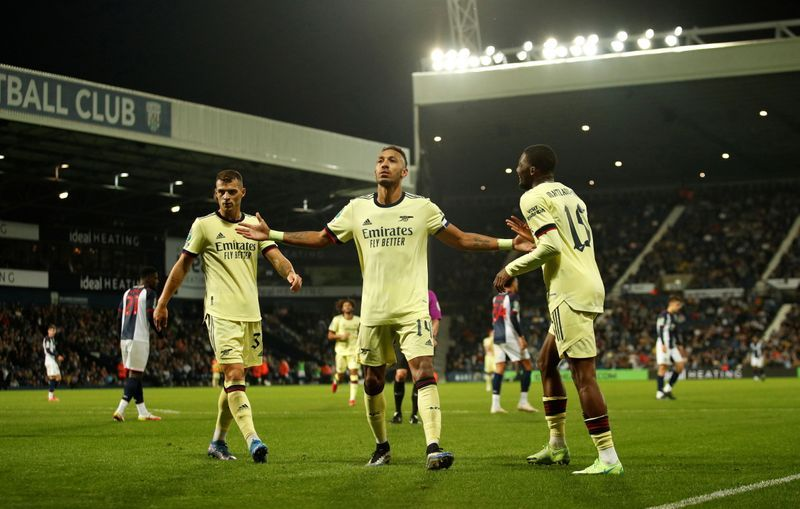 Soccer-Aubameyang grabs a hat-trick as Arsenal hit West Brom for six