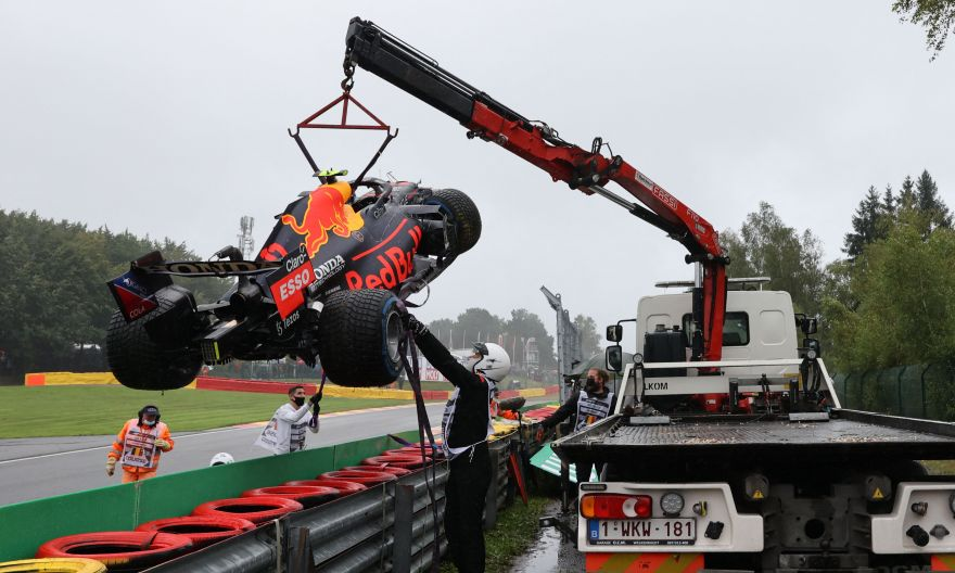 Formula One: Red Bull's Sergio Perez out of rain-soaked Belgian GP before the start