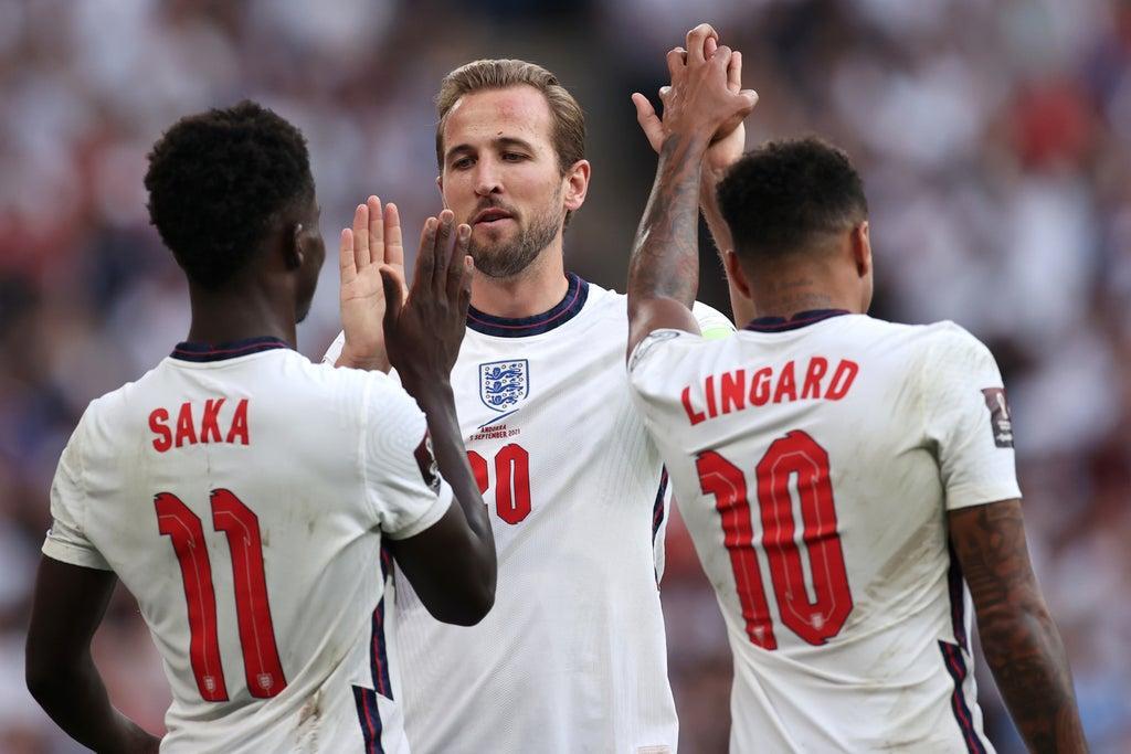England 4-0 Andorra: Bukayo Saka scores on Wembley return and Jesse Lingard nets brace as floodgates open late