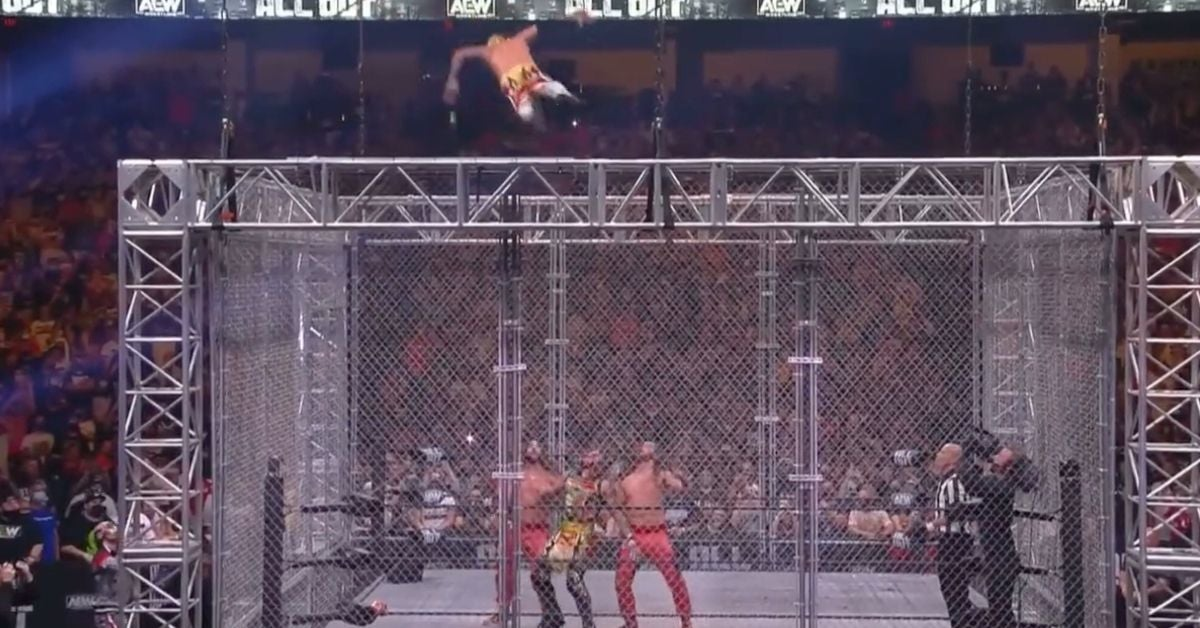 AEW All Out: Rey Fenix Jumps From the Top of the Steel Cage in Tag Team Match: Watch