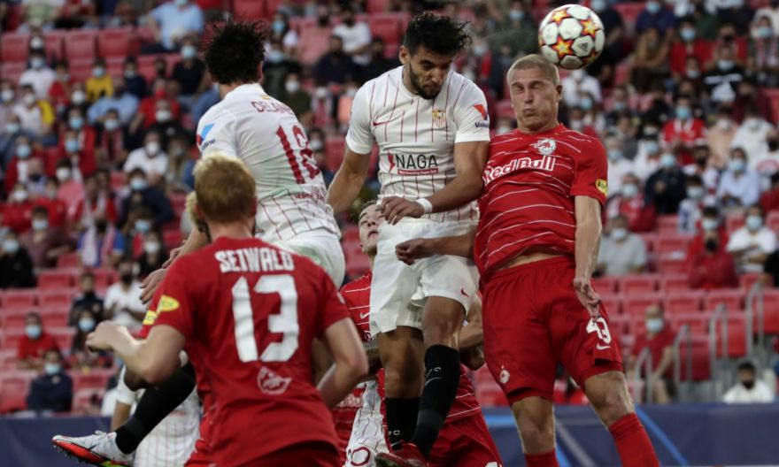 Football: Sevilla draw with Salzburg in Champions League after four first-half penalties awarded