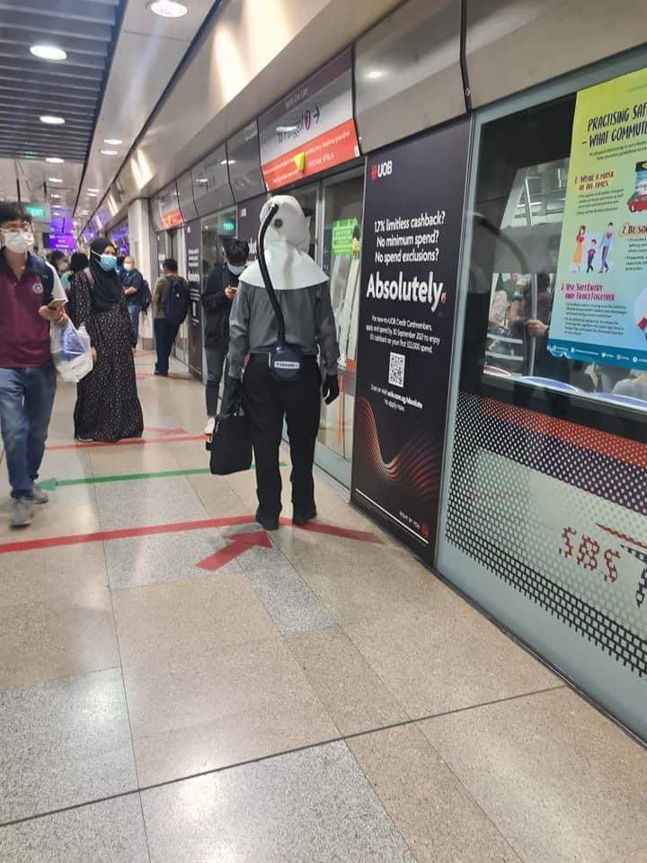 SG man wears ultimate protection to take MRT