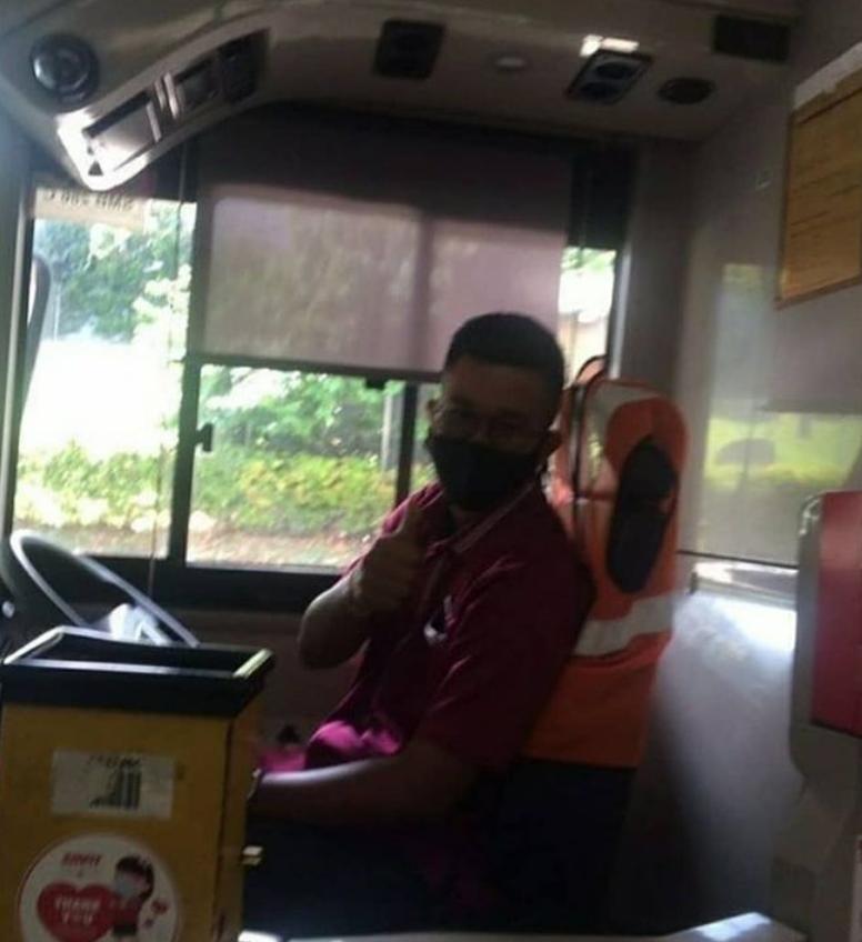 Bus captain takes pride in his work, always cheerful & greeting passengers