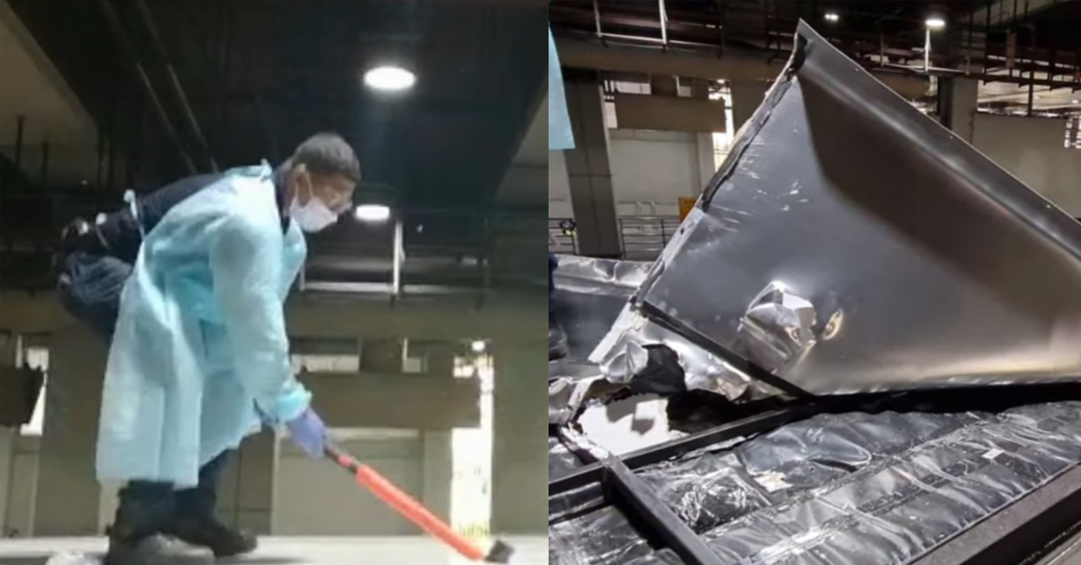 ICA officer smash opens lorry roof & found hidden contraband cigs